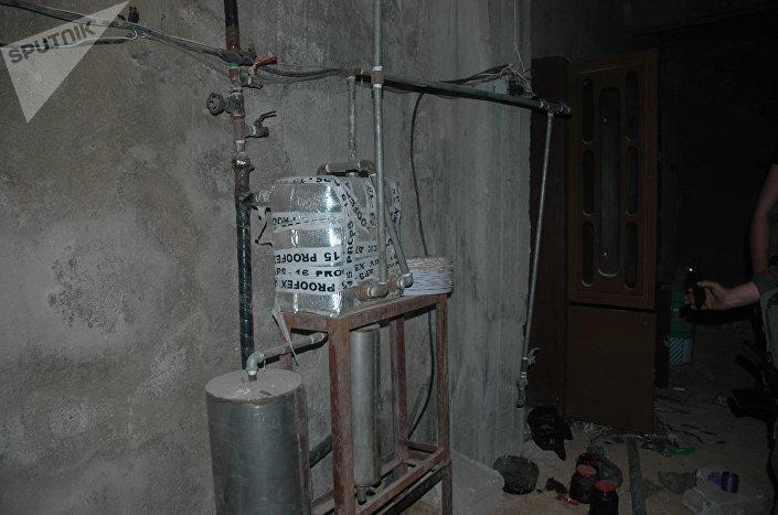 Um laboratório de armas químicas de terroristas na cidade síria de Douma, em Ghouta Oriental.