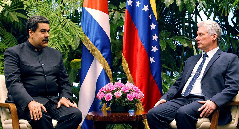 O presidente da Venezuela, Nicolás Maduro, e o presidente de Cuba, Miguel Díaz-Canel