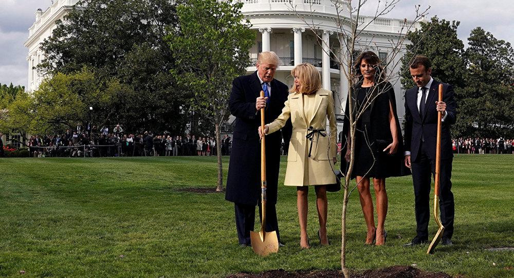 Trump e Macron plantando árvore no jardim da Casa Branca.
