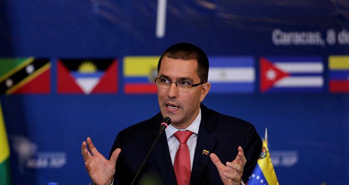 Ministro das Relações Exteriores da Venezuela, Jorge Arreaza, em Caracas, 8 de agosto de 2017