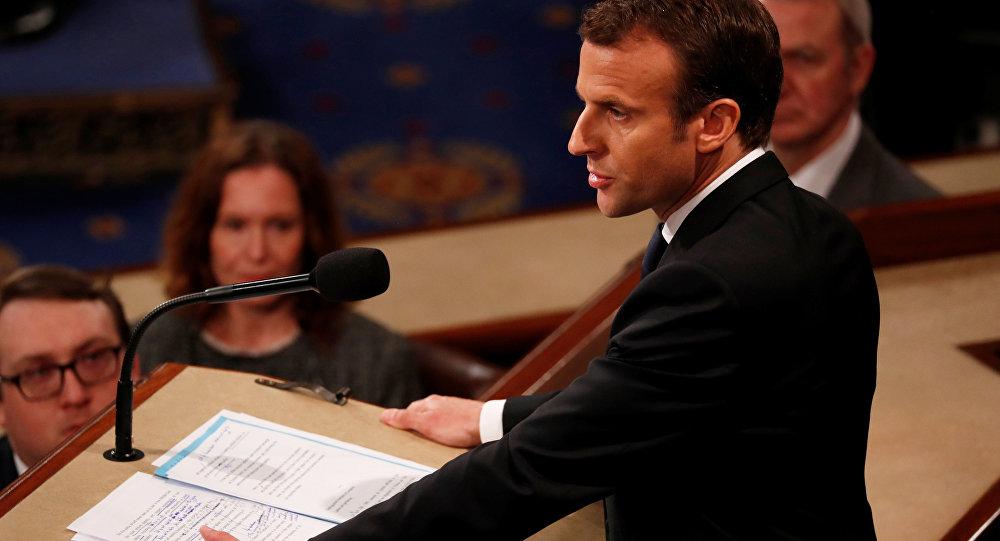 Macron em discurso na Câmara dos EUA.