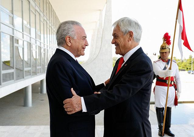 Visita oficial do presidente chileno, Sebastián Piñera, ao chefe de Estado brasileiro, Michel Temer, em Brasília