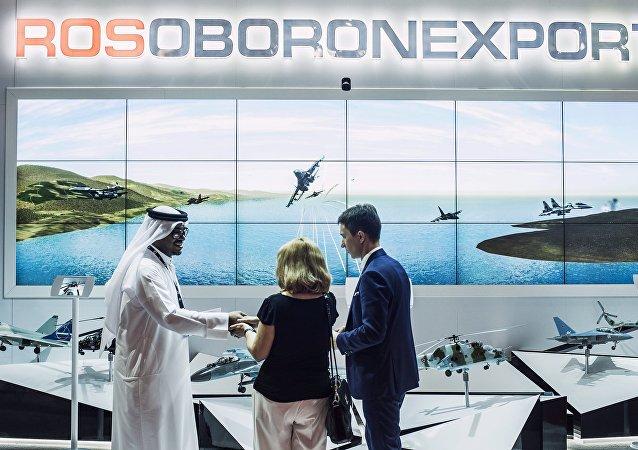 O estande da Rosoboronexport, na exibição internacional em 2015, em Dubai.