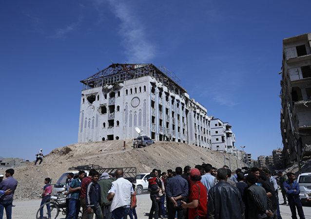 Local do suposto ataque químico na cidade síria de Douma