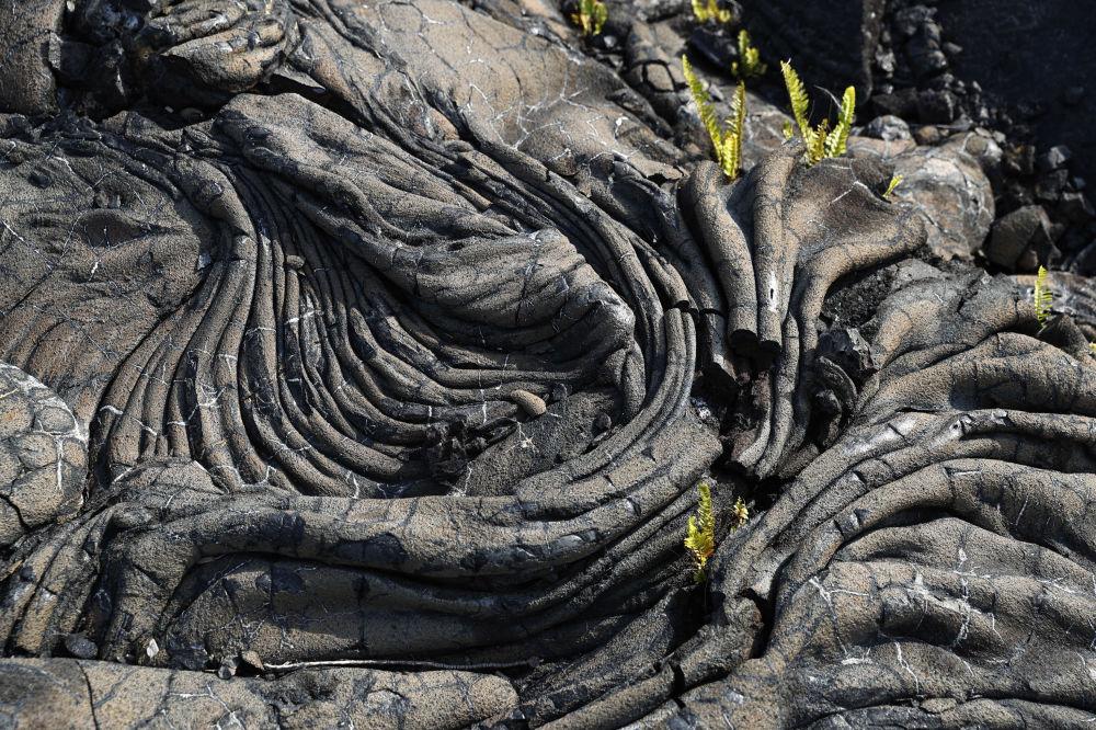 Lava solidificada após a erupção vulcânica