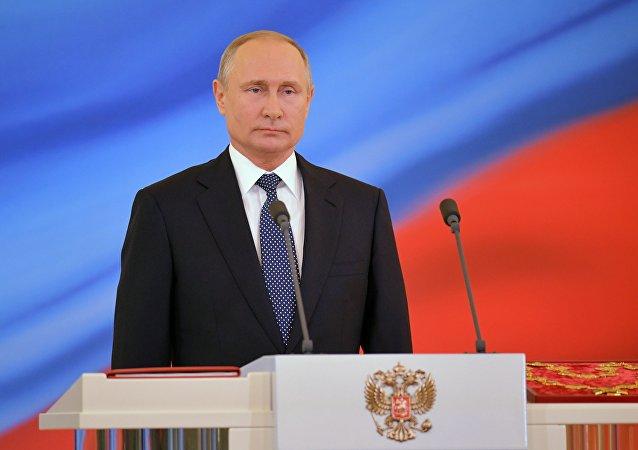 Presidente russo Vladimir Putin durante cerimônia solene de posse no Kremlin, 7 de maio de 2018, Moscou