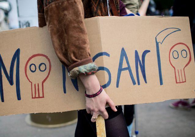 No cartaz está escrito: Monsanto. É uma das maiores empresas de produção dos alimentos trasgênicos.