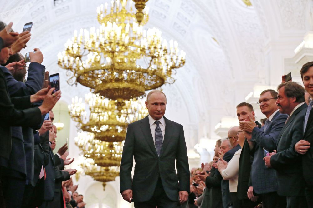 Presidente eleito russo, Vladimir Putin, durante a cerimônia de posse no Kremlin, em 7 de maio de 2018