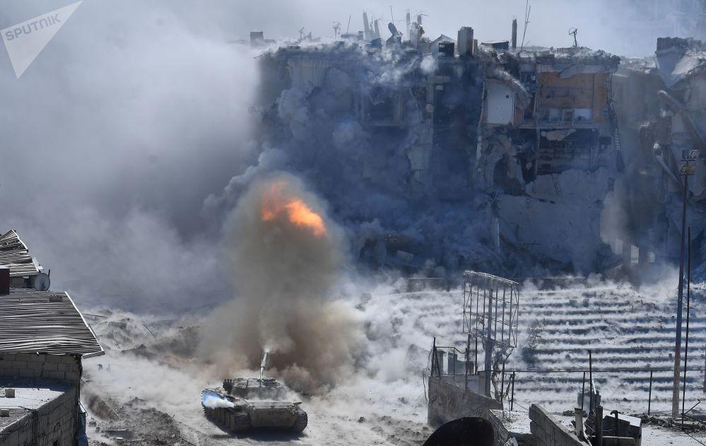 Regiões atacadas dos militantes da organização terrorista Daesh (grupo terrorista proibido na Rússia), no subúrbio a sul de Damasco