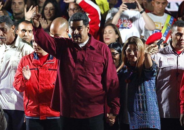 Nicolás Maduro comemora reeleição na Venezuela