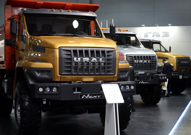 Caminhões GAZ Group UEX NEXT, exibidos na exposição Construction Equipment and Technologies em Moscou.