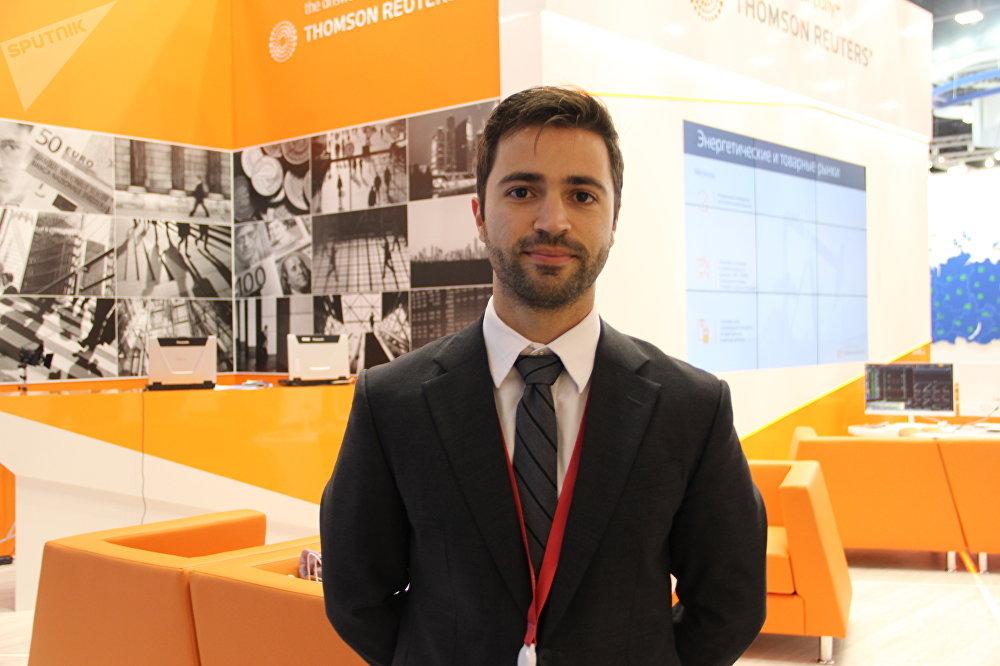 Representante da embaixada brasileira, segundo secretário Lucas Beltrami, no Fórum Econômico Internacional de São Petersburgo (SPIEF), em 26 de maio de 2018