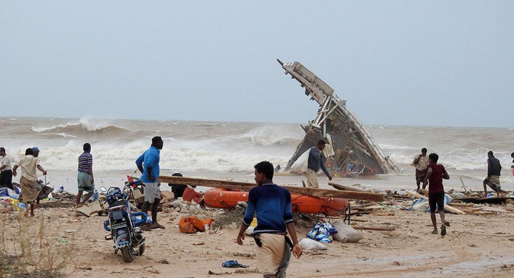 Estragos provocados pelo ciclone Mekunu na Ilha de Socotra, Iêmen, em 25 de maio de 2018