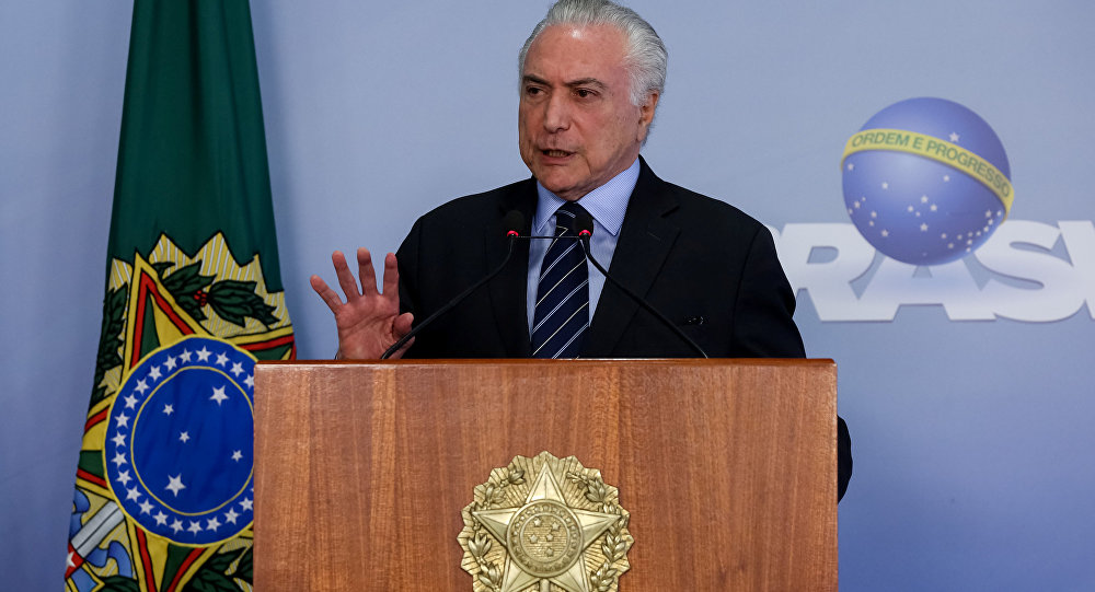 Presidente Michel Temer faz pronunciamento no Palácio do Planalto