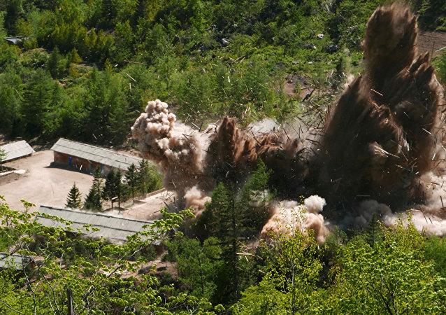 Demolição das instalações do polígono nuclear de Punggye-ri, no norte da Coreia do Norte, 24 de maio de 2018