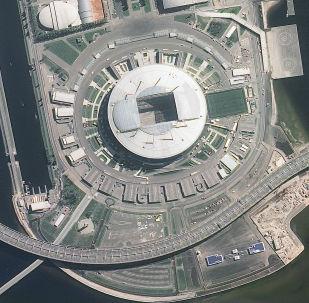 Imagem do estádio São Petersburgo tirada pelo satélite russo Resurs-P nas vésperas da Copa do Mundo 2018, na cidade-sede de São Petersburgo