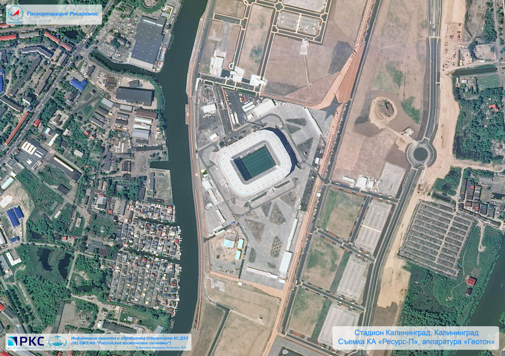 Imagem do estádio Kaliningrado tirada pelo satélite russo Resurs-P nas vésperas da Copa do Mundo 2018, na cidade-sede de Kaliningrado