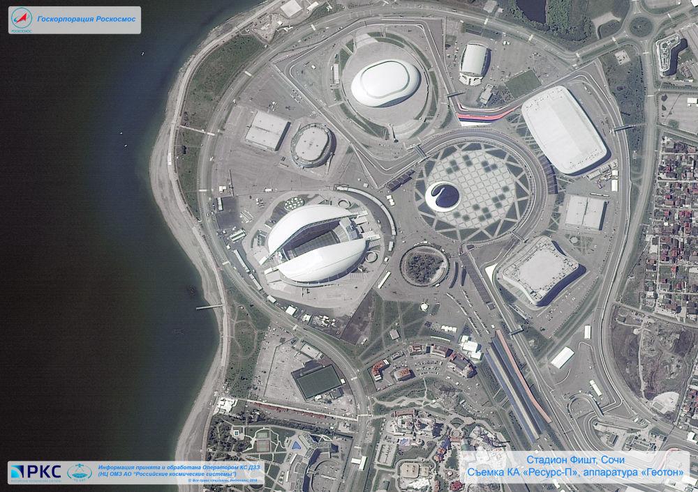 Imagem do estádio Fisht tirada pelo satélite russo Resurs-P nas vésperas da Copa do Mundo 2018, na cidade-sede de Sochi