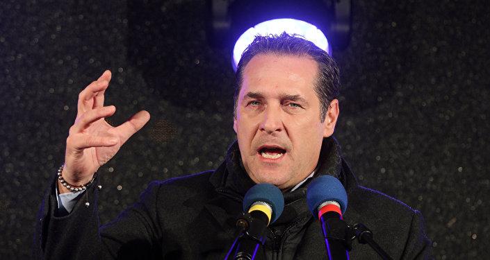 Heinz-Christian Strache, líder do Partido da Liberdade da Áustria (arquivo)