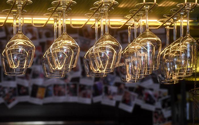 Taças da Hamburgueria Byuro em São Petersburgo