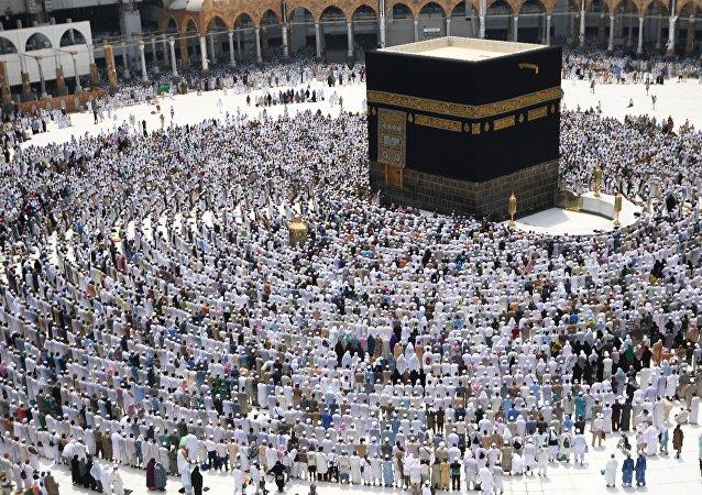 Peregrinos na Grande Mesquita de Meca, na Arábia Saudita (foto de arquivo)