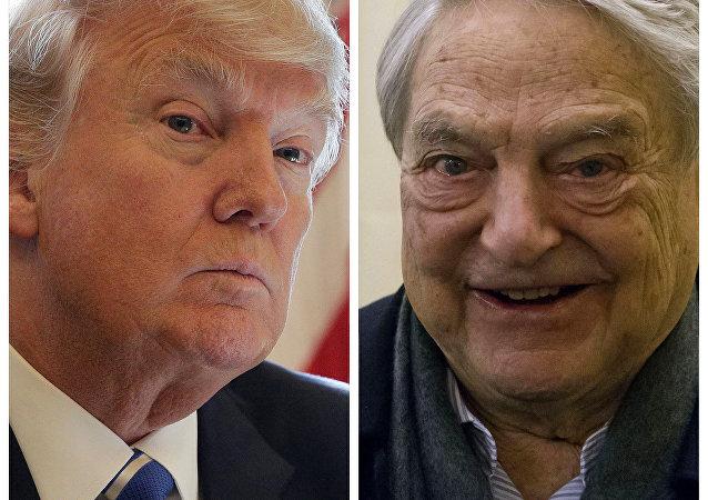 Donald Trump (à esquerda) e George Soros (à direita)