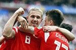 Yuri Gazinsky comemora seu gol contra a Arábia Saudita.