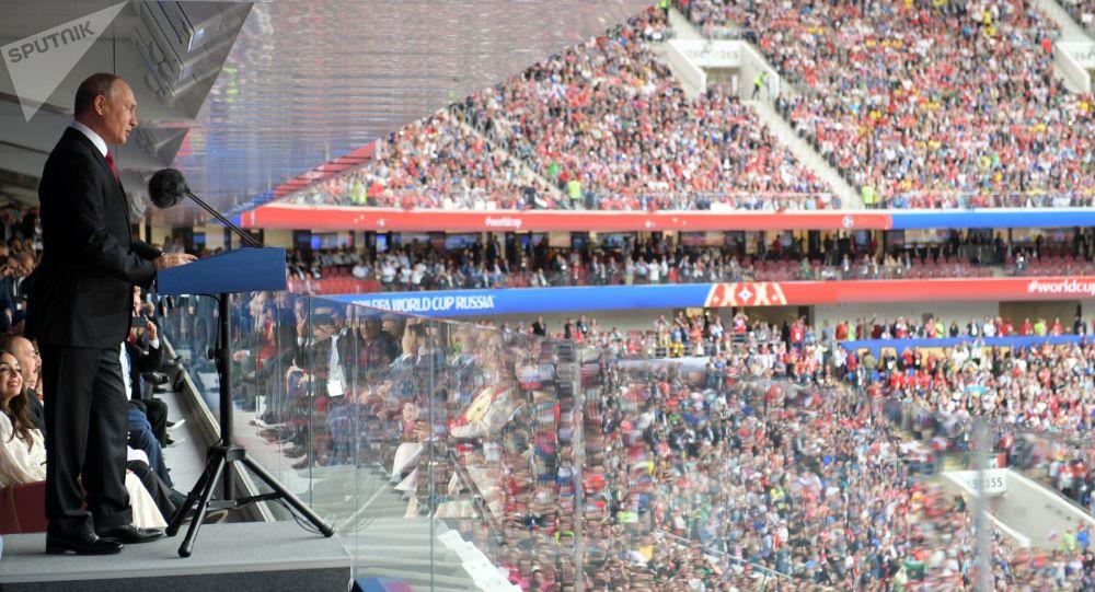 O presidente russo, Vladimir Putin, durante a cerimônia de abertura da Copa 2018 da FIFA