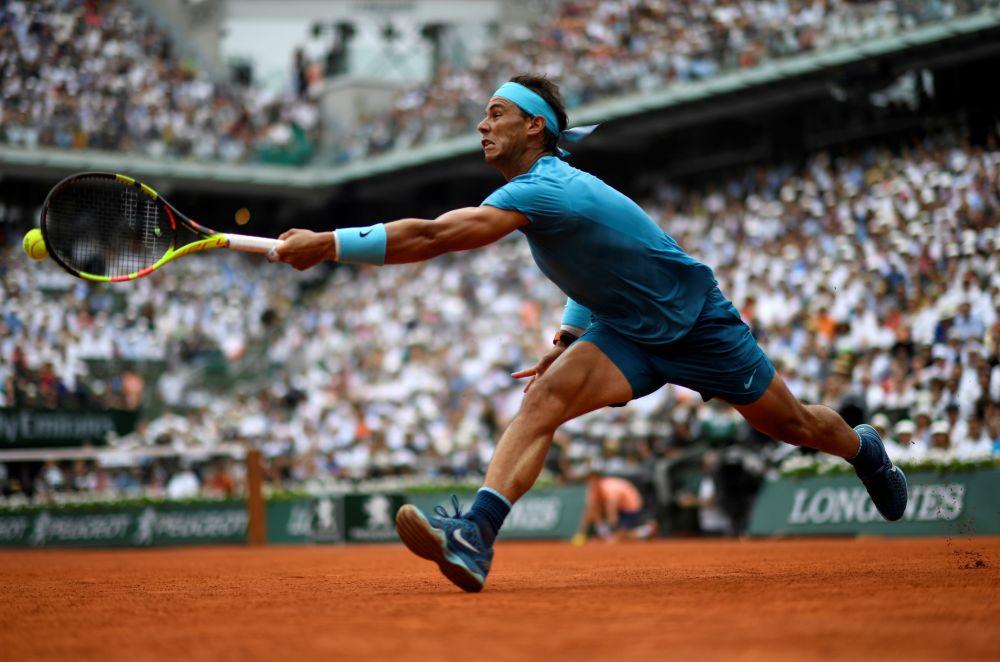 O tenista espanhol Rafael Nadal durante o jogo contra o austríaco Dominic Thiem na final de Roland Garros