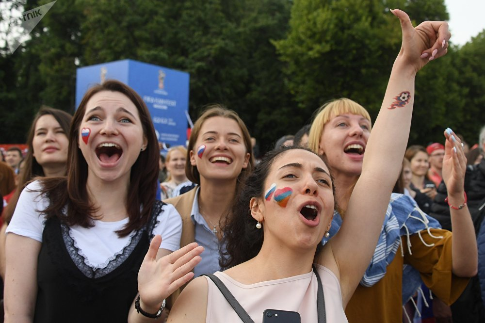Torcedoras comemoram em Moscou