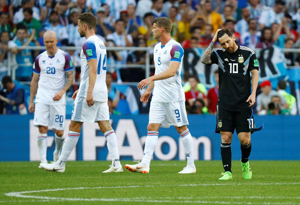 Seleção da Argentina empata com seleção da Islândia no estádio Spartak, em Moscou