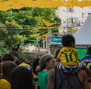 Torcedores acompanham a estreia do Brasil na Copa do Mundo FIFA 2018