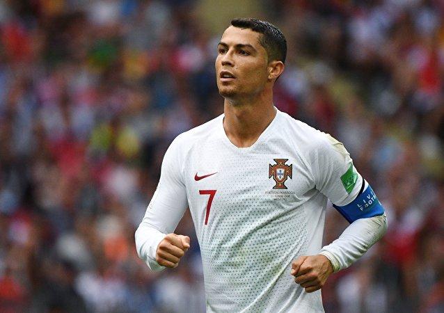 Cristiano Ronaldo durante jogo Portugal-Marrocos em 20 de junho de 2018, em Moscou