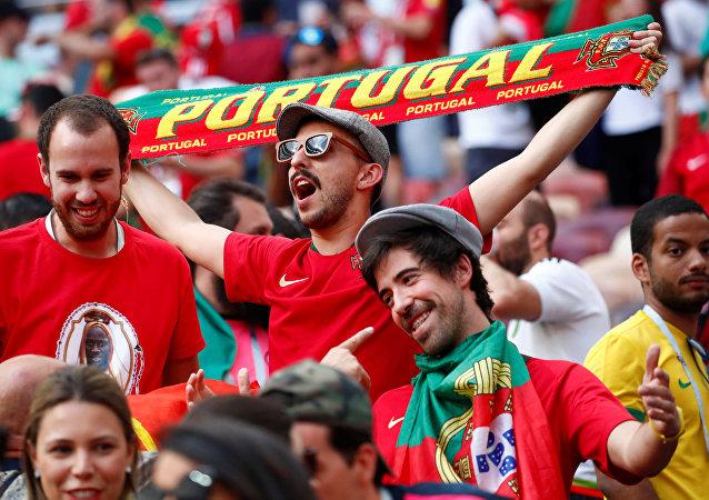 Torcedores portugueses após vitória de sua Seleção contra Marrocos em Moscou, 20 de junho de 2018