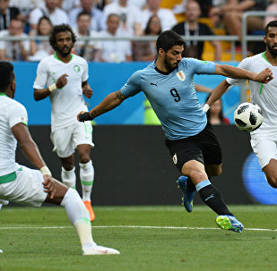 Luis Suárez, autor do único gol da vitória do Uruguai sobre a Arábia Saudita em Rostov-no-Don
