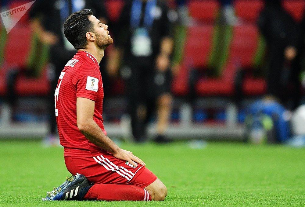 Mehdi Torabi, do Irã, lamenta derrota de sua seleção para a Espanha em Kazan