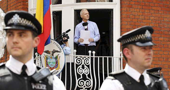 WikiLeaks founder Julian Assange speaks to the media outside the Ecuador embassy in west London in this August 19, 2012 file photo