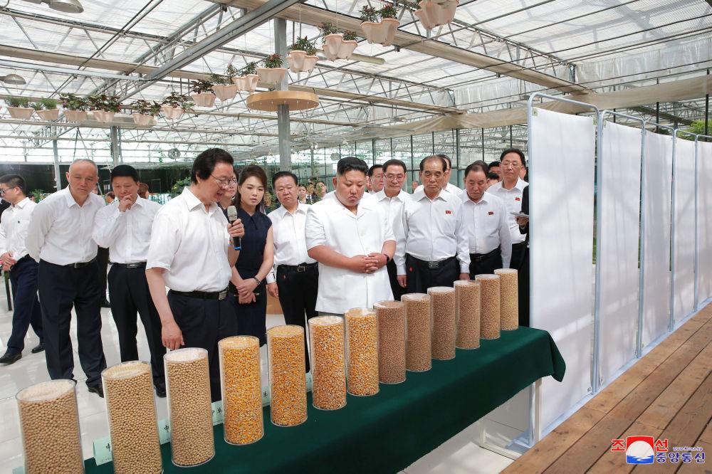 O líder norte-coreano e sua esposa examinam os êxitos da agricultura chinesa em Pequim durante sua visita oficial à China