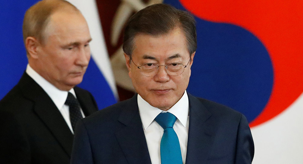 O presidente da Coreia do Sul, Moon-Jae-in, e seu homólogo russo, Vladimir Putin