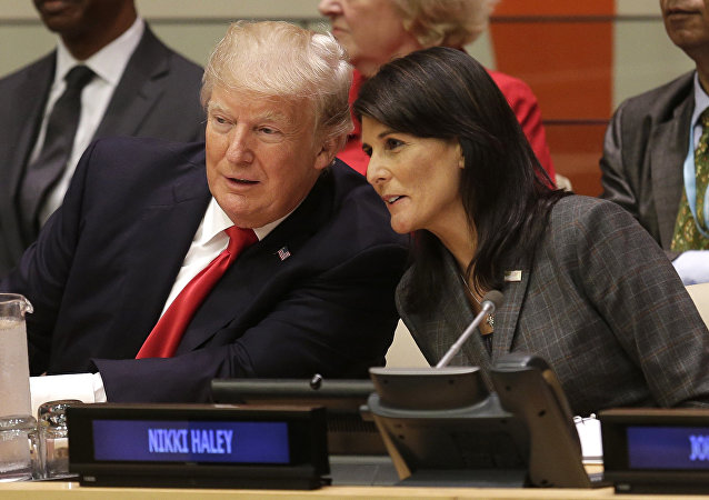 United States President Donald Trump speaks with U.S. Ambassador to the United Nations Nikki Haley before a meeting during the United Nations General Assembly at U.N. headquarters, Monday, Sept. 18, 2017.