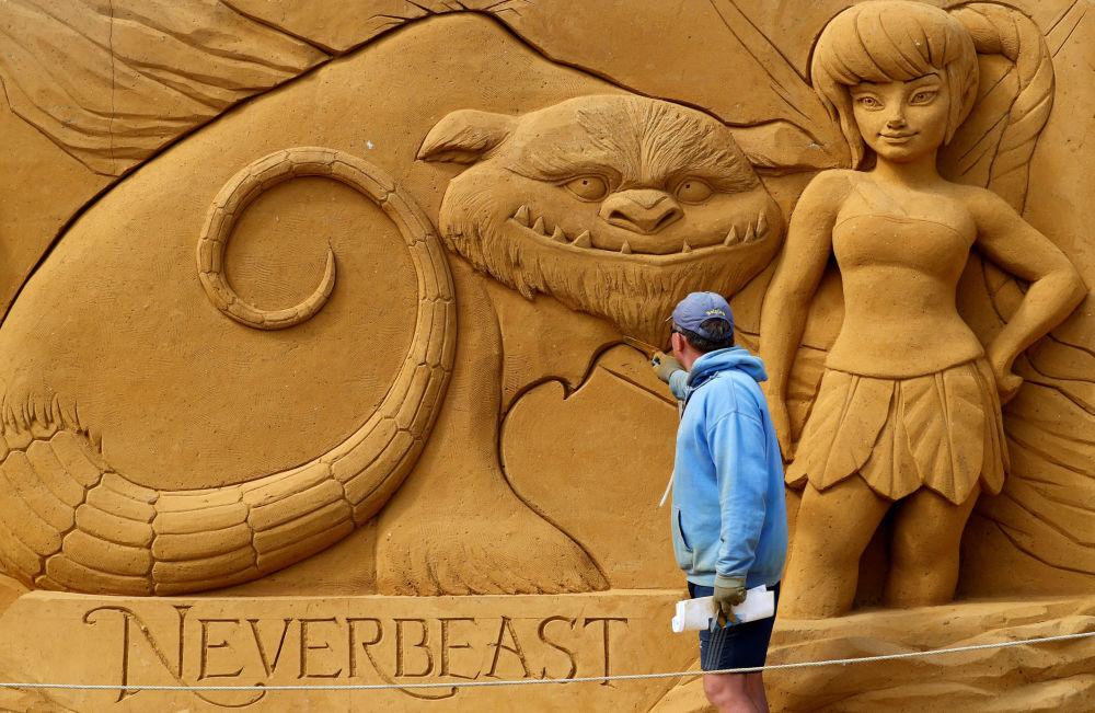 Festival de esculturas de areia em Ostend, Bélgica.