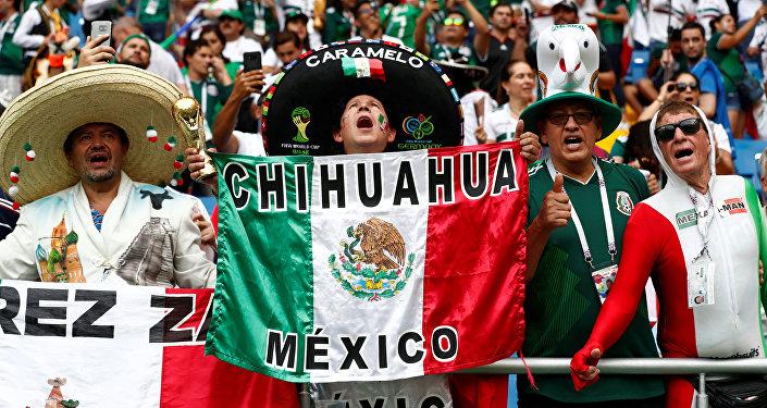 Torcida mexicana na partida contra a Coreia do Sul na cidade de Rostov