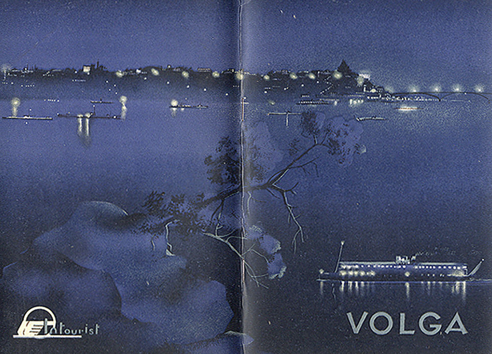 Panfleto soviético intitulado Descendo pelo Volga, datado de 1936
