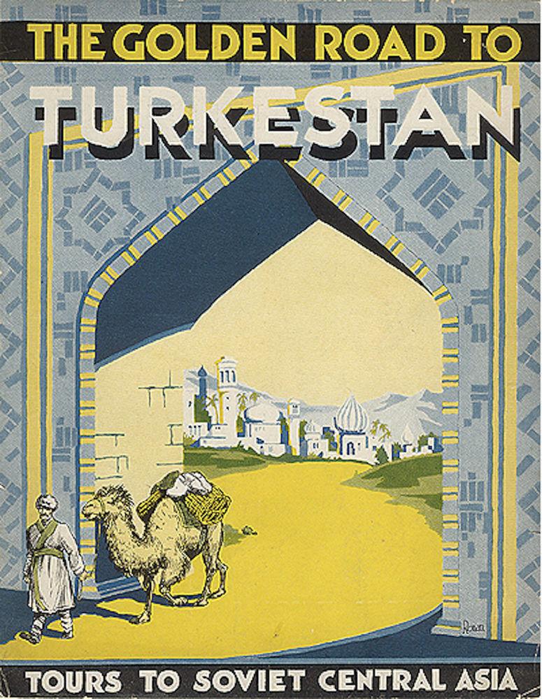 Panfleto turístico intitulado Rota de ouro para o Turquestão – Viagens à Ásia Central Soviética, datado de 1932