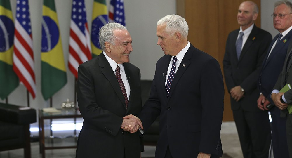 Presidente Michel Temer em encontro com o vice-presidente dos Estados Unidos Mike Pence