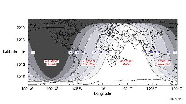 As zonas brancas indicam os melhores pontos para observar o eclipse lunar em 27 de julho de 2018
