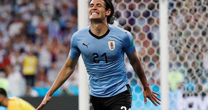 Cavani comemora gol do Uruguai contra Portugal