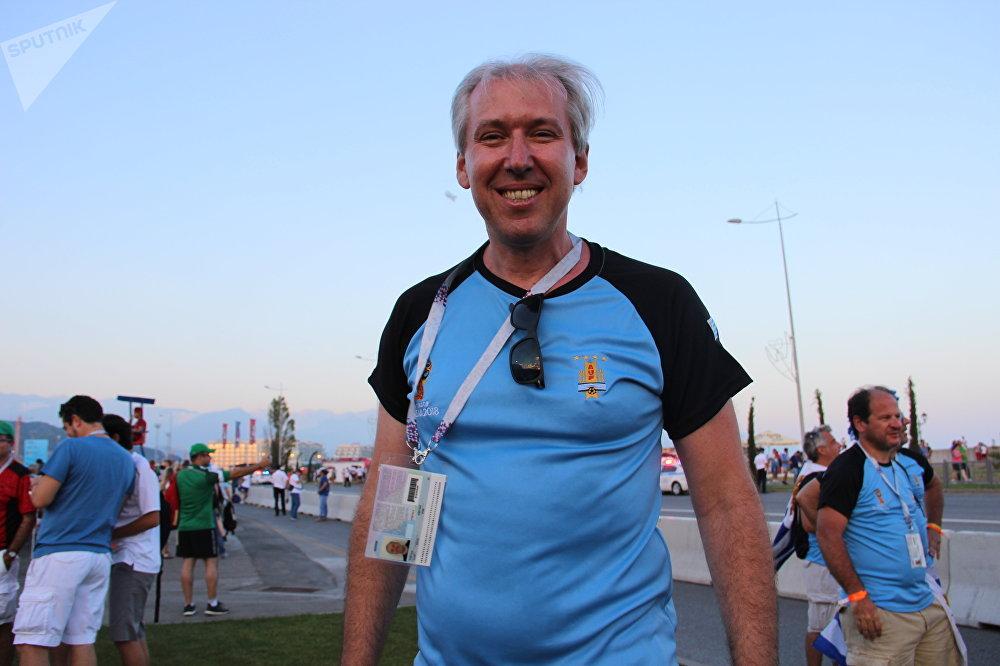 Carlos, torcedor uruguaio, antes do jogo Portugal-Uruguai, em Sochi, em 30 de junho de 2018