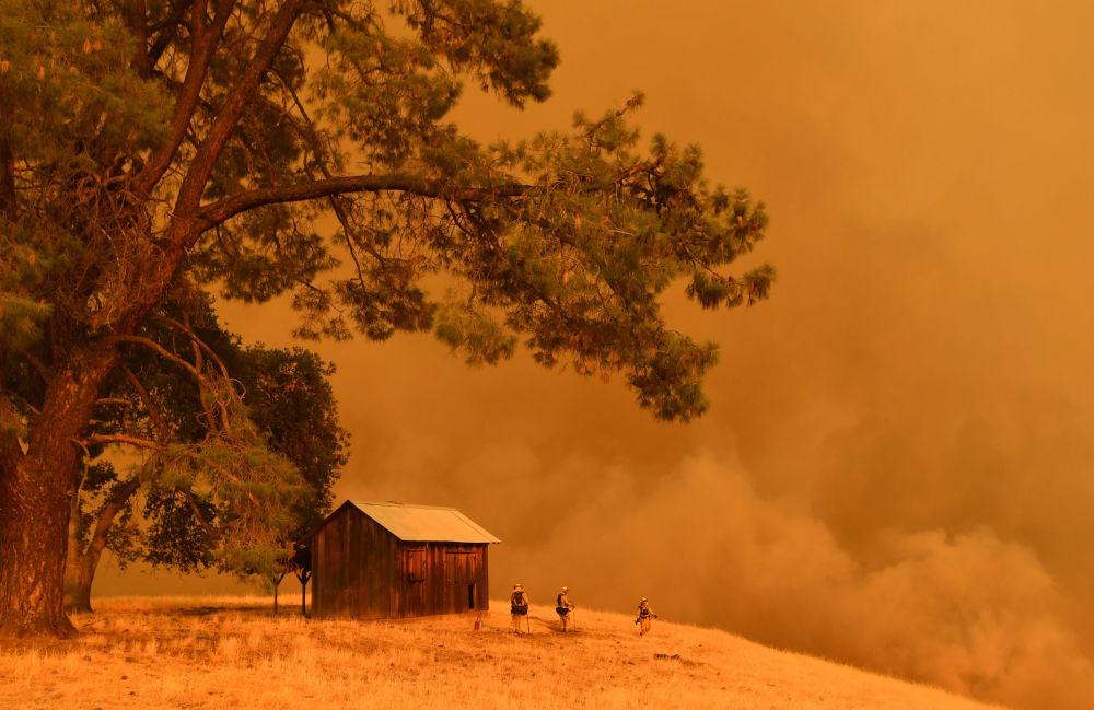 Bombeiros olhando para a fumaça dos incêndios florestais, Califórnia