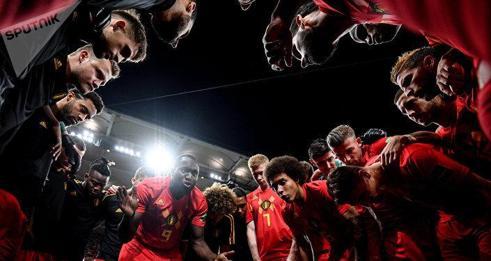 Seleção da Bélgica no jogo contra o Japão em Rostov-no-Don
